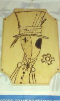 a wood burning of my mechanical mad hatter by saphiradreagon
