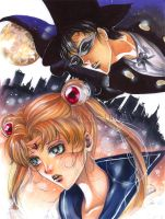 Sailor Moon and Tuxedo mask by Giname