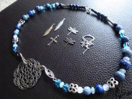 Handmade Blue Beaded Charm Necklace by LadyFitz