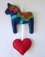 Plush Dala Horse Wall Hanging by lovarevolutionary
