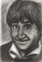 Patrick Troughton charcoal by dragon-64