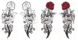 Freebies Gothic Roses Tattoo Design by TattooSavage