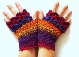 Pink Clouds and Sunsets Dragon Gloves by FearlessFibreArts