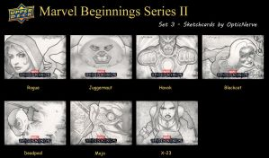 Marvel Beginnings 2 sketchcards - Set 3 by theopticnerve