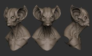 Bat creature Bust gray renders by Karonto