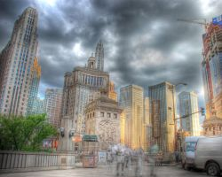 Chicago skyline Pioneer Court by spudart