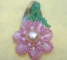 Sold- Pink Flower Hairclip by eclecticpixie