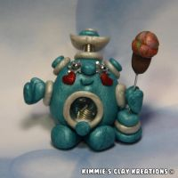 Polymer Clay Robot - I Love Sherbet Ice Cream by KIMMIESCLAYKREATIONS