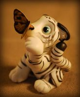 white tiger and butterfly by melinaminotti