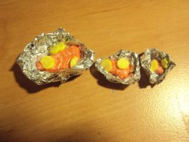 3 sizes of salmon fillet in foil with lemon by Pagan-Child