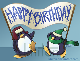 Belated Birthday Penguins by khiton