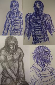 When I'm bored at work I draw the Winter Soldier by Wulfe