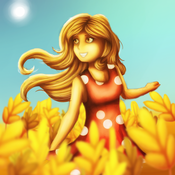 The girl in the field by DarkRay777