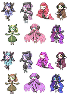 All My Meloetta Formes SHINY by Claudiamore