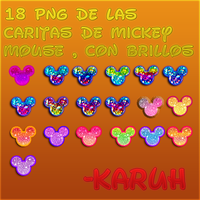 Pack PNG De caritas de mickey mouse con brillo by Karuhchitta