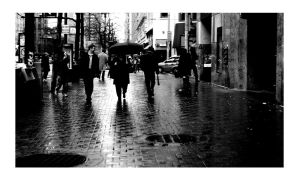 Market Street in the rain by karmablackout