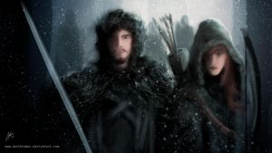 Jon Snow and Ygritte by DarthTemoc