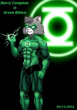 Justice league of furries : Green Kitten by RaynalJacquemin