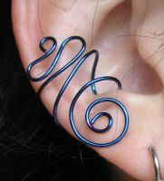 Blue Swirl ear cuff by lavadragon