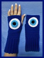 Crochet Nazar (Evil Eye) Fingerless Gloves by sapphiresphinx