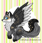 Winged canine auction closed by gold-adopts