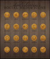 Brown Leather Social Media Icons by devils-horizon