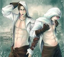 Ezio and Altair: Yogurt night by DeadlyNinja