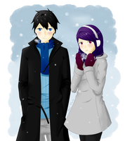 Ayame and Rain in the first snow by Pellentz