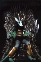 Loki on the Iron Throne by CuriousCreatures