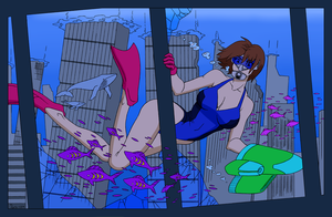 Courtney's City Dive - Color Commission by The-Sakura-Samurai