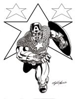 Captain america inked drawing by WEDMER