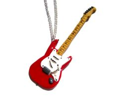 Electric Guitar Necklace Red Fender Stratocaster by ClayMyDay