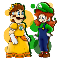 AT: Princess Luigi and Plumber Daisy by SuperLakitu