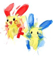 Plusle and Minun by MICHA3LT