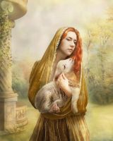 The girl with lamb by Lotta-Lotos