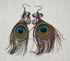 Peacock Earrings by ACrowsCollection