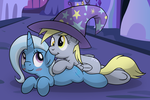 Trixie and Derpy Colored by drawponies