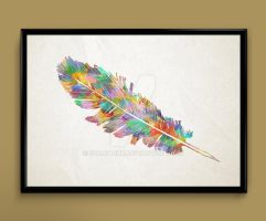 Feather Watercolor print by ColourInk