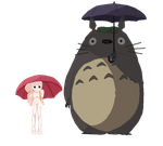 -Base- Standing in the Rain with Totoro by Tabii-Chan