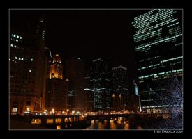 Chicago River by Night by fromantis