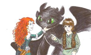 Merida meets Toothless by griffon-rider-Ann