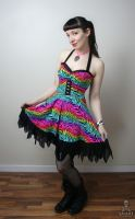 Party Animal neon rainbow leopard zebra print punk by smarmy-clothes