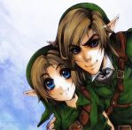 Zelda - Link and young Link by XMenouX
