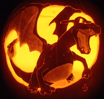 Charizard Pumpkin Redux by johwee