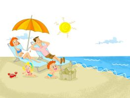 family in beach by ajurkevicius