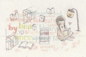 library ,- hearte by childrensillustrator