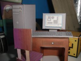 Computer+chair+desk papercraft by norgas