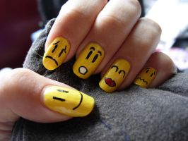Smiley nails by SarahJacky
