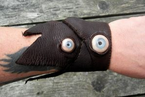 Leather eyeball bracelet by dogzillalives