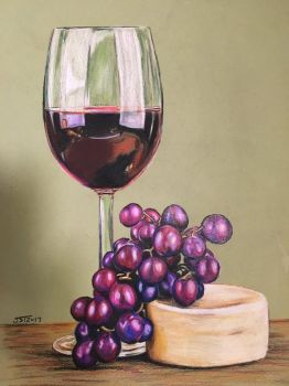 Still life, grapes and wine  by Portraitsforlife